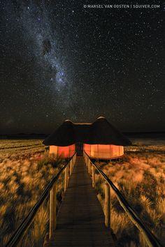 Sleeping Under The Stars in Namibia, Africa . Photo by Marsel van Oosten