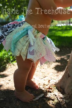 cute baby girl skirt & outside barefoot for photo