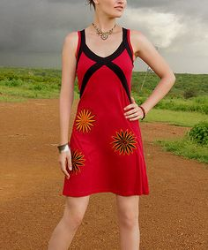 Fun! Take a look at this Red & Black Color Block Dress by Aller Simplement on #zulily today!