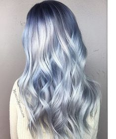 Metallic Hair Color – The Most Magnetic Trend Ever! – Page 3 – Style O Che… Metallic Hair Color – The Most Magnetic Trend Ever! – Page 3 – Style O Check Icy Blue Hair, Silver Blue Hair, Ombre Hair Color, Cool Hair Color, Icy Hair, Amazing Hair Color, Silver Hair Colors, Blonde And Blue Hair, Silver Ombre