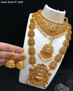 Matt PC Bridal set for sale from 12000 to Direct message to place order Shipping is extra the damage will be exchanged Gold Wedding Jewelry, Bridal Jewelry, Gold Jewelry, Jewlery, India Jewelry, Temple Jewellery, Short Necklace, Jewelry Patterns, Necklace Designs