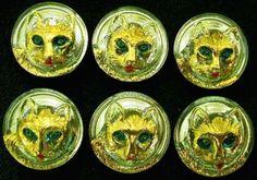 6-Czech-UNIQUE-Vaseline-Uranium-Glass-Buttons-A477-CATS