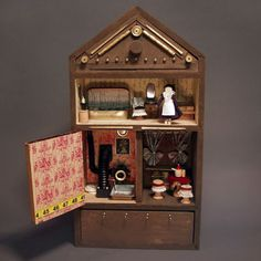 Inside the Tiny Home Small Wonder, Doll Furniture, Old And New, The Borrowers, Liquor Cabinet, Tiny House, Home And Family, Miniatures, Bookcases