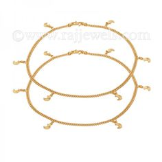 Astro Charm Anklets | #Anklebracelets, available as a pair, crafted in 22 karat yellow #gold in a flat chain with half moon and #stars #charms and fastens with a S hook closure. - See more at: https://www.rajjewels.com/22-k-gold-moon-stars-charm-anklet-s.html#sthash.l5Q43mTC.dpuf