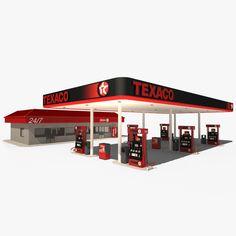 3D Texaco Station Model - 3D Model