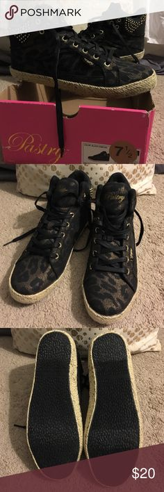 Pastry Black & Gold Cheetah High Tops Never worn. Cheetah print is pretty subtle. Cute and seem comfortable. Pastry Shoes Sneakers