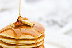 Homemade Pancakes #recipe Add a tsp of your favorite extract and you have a fabulously flavored breakfast!