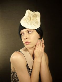 Sculptural Cream Felt Hat Bridal Series by pookaqueen on Etsy fb828b97c496