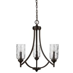 allen + roth Latchbury 21.94-in 3-Light Aged Bronze Craftsman Textured Glass Shaded Chandelier
