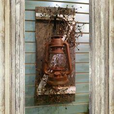 Single lantern barn wood sconce with pip berries. $37.50