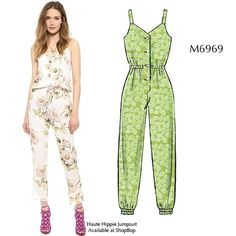 McCalls M6969 MISSES' ROMPERS AND JUMPSUITS: Rompers and jumpsuits have front button closing. A and B: semi-fitted, shoulder straps. B: tapered, elasticized lower edge. C and D: loose-fitting, collar. A, C and D: wide-legged. Purchased bias tape for elasticized waist casing B, C and armholes C and D. #mccallpatterncompany (Playsuit / Jumpsuit / Romper Sewing Pattern) Image via: http://instagram.com/p/qRM29Gq1HX/?modal=true