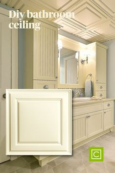 DIY your bathroom ceiling with these beautiful Stratford vinyl ceilings tiles/ Ceilume has a variety of designs, colors, and finishes to work with any design aesthetic. #ceilings #bathroomideas #bathroomremodel #diy #basementbathroom Bathroom Ceilings, Basement Bathroom, White Ceiling, Ceiling Tiles, Simple Bathroom, Easy Diy, Mirror, Colors, Furniture