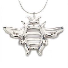 Custom Made Sterling Silver Bumblebee Pendant Necklace Handcrafted 18 Inch L