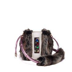 NAMI Vegan Designer Shoulder Bag for Women , Luxury Faux Fur Handbag