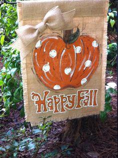 Happy Fall Pumpkin on Burlap Garden Flag Halloween by aDOORnaments, $28.00