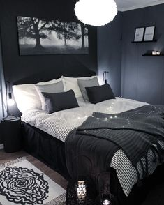 Blue and Black Bedroom. Blue and Black Bedroom. Navy Blue Black Bedroom Ideas Home Delightful Homes Decor Bedroom Inspo, Home Decor Bedroom, Bedroom Ideas, Bedroom Furniture, Bedroom Inspiration, Furniture Plans, Dark Home Decor, Bedroom Apartment, Black Bed Room Ideas