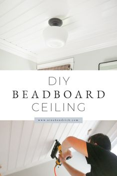 Learn how to cover an ugly textured ceiling with a clean cottage-inspired beadboard treatment with this step-by-step tutorial. Learn how to cover an ugly textured ceiling with a clean cottage-inspired beadboard treatment with this step-by-step tutorial. Shiplap Ceiling, Ceiling Panels, Ceiling Decor, Plank Ceiling, Living Room Ceiling Ideas, Bead Board Ceiling, Ceiling Coverings, Drop Ceiling Tiles, Dropped Ceiling