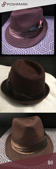 Brown felt trilby hat with feathers Brown felt, satin ribbon, multi-colored feathers. Other