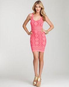 bebe Diamond Lace Bodycon Dress