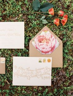Invitations - Floral Envelop Liner #bohobride #johnnywas