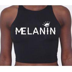 Melanin Apparel — Melanin Crown Black Crop Tops