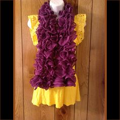 Extra Soft Ruffled Purple Knit Scarf