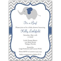Chevron Elephant Gender Neutral Shower Invitation - The . Chevron Elephant Boy Baby Shower Invitation - The Invite Lady. Chevron Elephant Purple Baby Shower Invitation - The . Navy Baby Showers, Baby Shower Chevron, Baby Shower Niño, Girl Shower, Baby Shower Invitation Templates, Baby Shower Invitations For Boys, Baby Shower Printables, Invitation Ideas, Invitation Cards