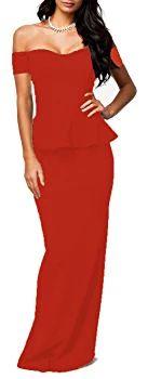 made2envy Drop shoulder Peplum Maxi Evening Dress (XS, Red) LC6244RXS