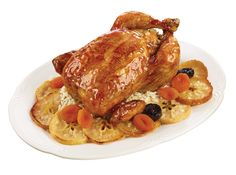 Roasted Whole Chicken Stuffed with RIce, Apple Slices and Dried Fruits from #YummyMarket Rosh Hashanah Special