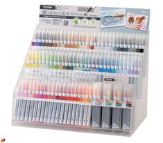 ZIG Clean Color Real Brush is perfect for watercolor, blending, creating fine lines and broad strokes, and so many other colorful techniques. Stationery Pens, Kawaii Stationery, Brush Markers, Brush Pen, Scrapbook Supplies, Art Supplies, Gel Ink Pens, Cute School Supplies, Pen And Watercolor