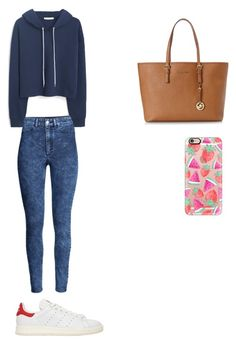 """""""Untitled #14"""" by marianacangalhas ❤ liked on Polyvore featuring MANGO, H&M, adidas Originals, Michael Kors and Casetify"""