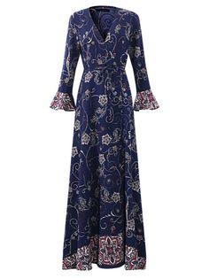 Floral dresses size 14 oeuvre women floral printed v-neck long sleeve maxi dress #b #darlin #dresses #floral #floral #dresses #bloomingdales #floral #dresses #indian #floral #dresses #size #14