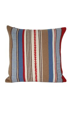 alpaca pillows: blues, reds and camel
