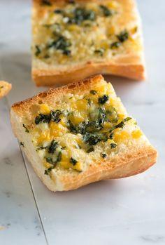 Cheesy Garlic Bread Recipe with Basil from www.inspiredtaste.net #recipe
