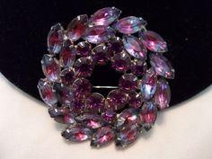 DE JULIANA Brooch Vintage Purple Art Glass Rhinestone Gold Plate Flower Pink  #Unbranded