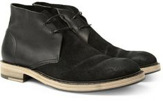 Acne Pedro Leather and Burnished-Suede Desert Boots on shopstyle.com