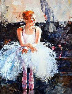 On Pointe, Watercolor and Gesso by Bev Jozwiak
