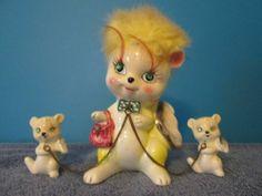 Kreiss Co Chained Yellow Cat w 2 Kittens on Chain Figurine   eBay