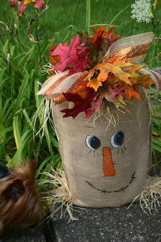 Handcrafted scarecrow burlap bag has lights inside - only $26.99.
