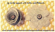 simple and chic designs: burlap flower magnets with button embellishments.