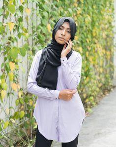 Anith 3.0 - Curved Hem Long Shirt - Purple - Ramadhan Sale - Modest Maxi Dress Islamic Fashion Modest Maxi Dress, Tunics, Blouses, Purple Tops, Islamic Fashion, Modest Fashion, Rain Jacket, Windbreaker, Jackets