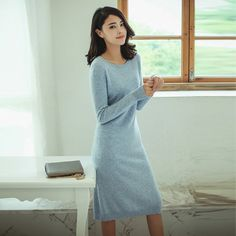 Women's 100% cashmere slim-fitting knee-length dress with O-neck solid color dot decor long sleeve