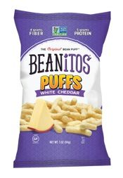 Beanitos bean puffs: non-GMO, low glycemic and gluten free and contain no MSG or preservatives.
