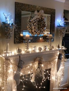 white silver and gold mantel | brown wire baskets a soft white and filled them with gold & silver ...