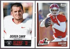 FRESNO STATE RAIDERS LOT OF 2 2014  DEREK CARR  ROOKIES HIT NEXT LEVEL AND SCORE