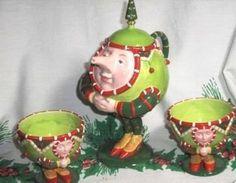 DEPT. 56 PATIENCE BREWSTER KRINKLES CHRISTMAS TEA SET 3-PIECE TEAPOT & CUPS IOB ...