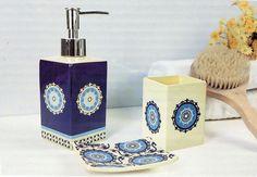 Bathroom Set 3 pc set Ceramic Soap Lotion Dish Tumbler Medallion Blue New #Midwood