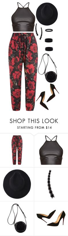 """1309."" by asoul4 ❤ liked on Polyvore featuring Anna Sui, Alinka, 3.1 Phillip Lim, Christian Louboutin, Fedora, harempants and halterneck"