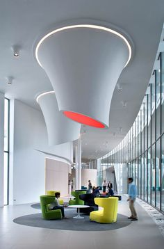 Loud and Clear: Nokia Alcatel-Lucent Calls on DEGW Italia for Milan Campus. To light a lounge at Nokia's Alcatel-Lucent division in Vimercate, Italy. #office Hight Tech Company