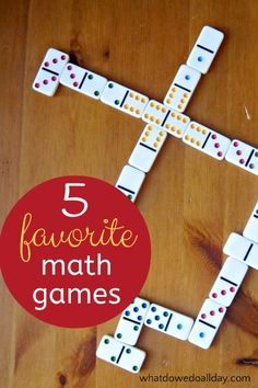 5 fun math games for kids. Fun way to get in math practice after school.